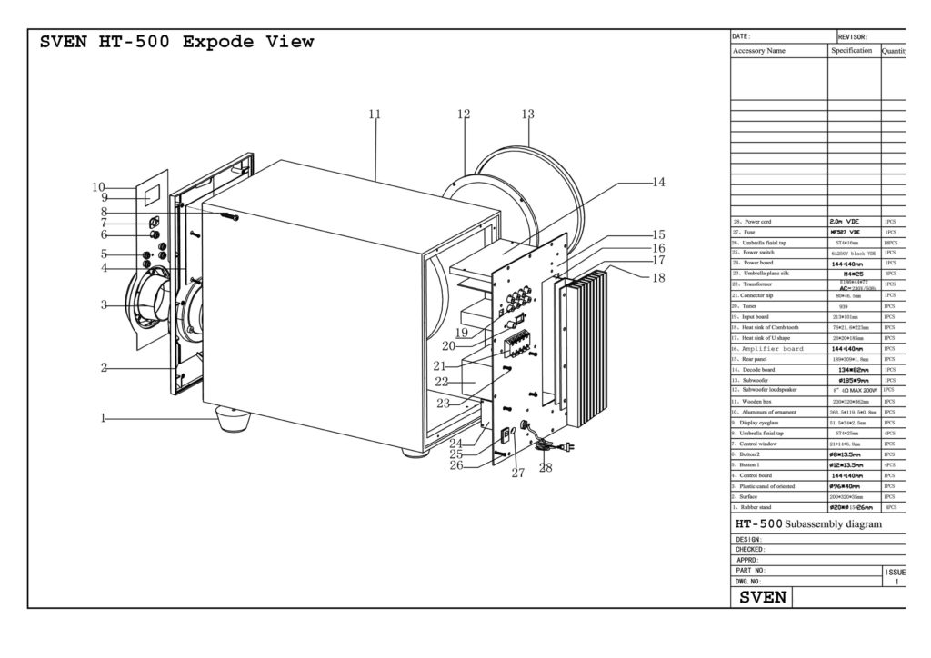 HT-500 explode view