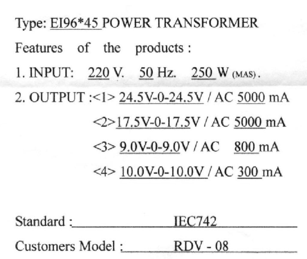 HT-500 transformer specification