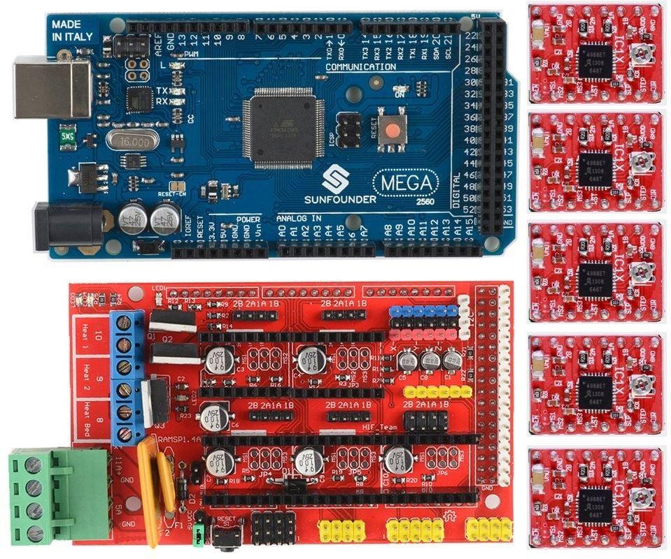 3D принтер Cactus CS-3D MICRO C1. Электроника. Плата управления RAMPS 1.4. Arduino Mega. A4988. Комплект электроники для 3D принтера.