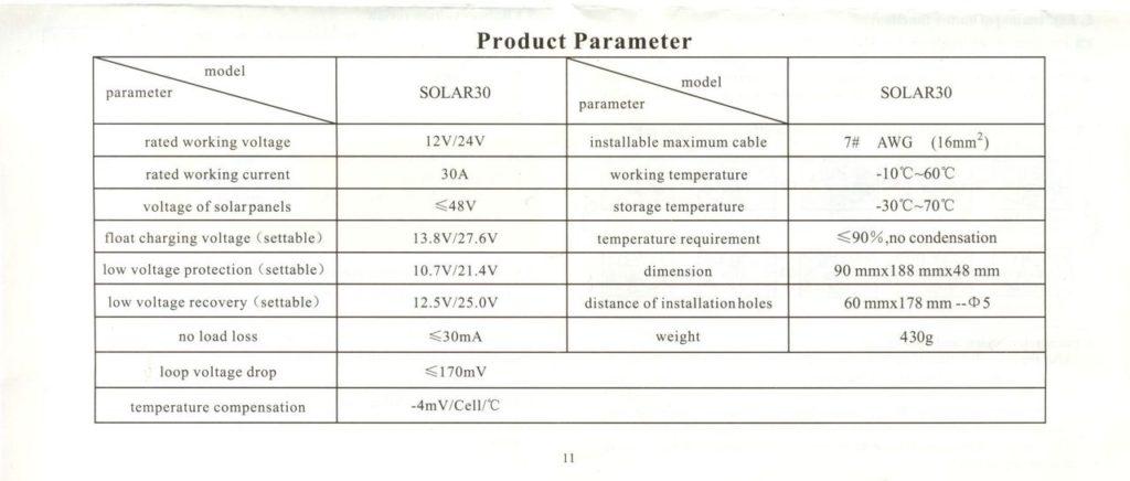 Контроллер заряда от солнечных батарей Solar Charge Controller SOLAR30 6