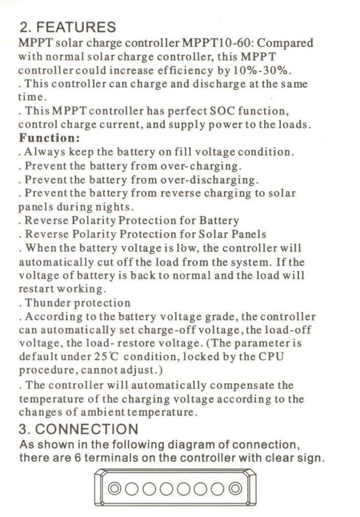 Контроллер заряда от солнечных батарей Solar Charge Controller CMTP02 3